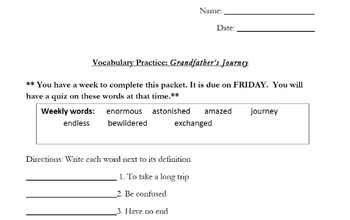 Grandfather's Journey by Allen Say, Weekly Vocabulary Practice