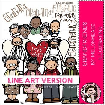 Melonheadz: Grandfriends clip art - LINE ART