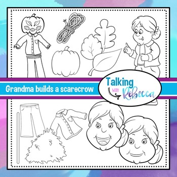 Grandma builds a scarecrow clip art bundle