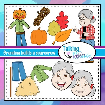 Grandma builds a scarecrow clip art bundle