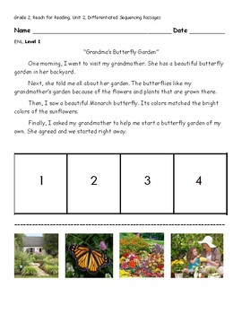 Grandma's Butterfly Garden- Leveled Sequencing Passages
