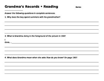 grandma 39 s records comprehension question worksheet by mary 39 s worksheets. Black Bedroom Furniture Sets. Home Design Ideas