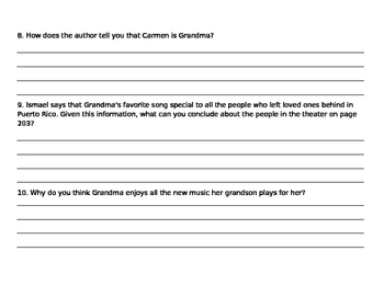 Grandma's Records Comprehension Question Worksheet