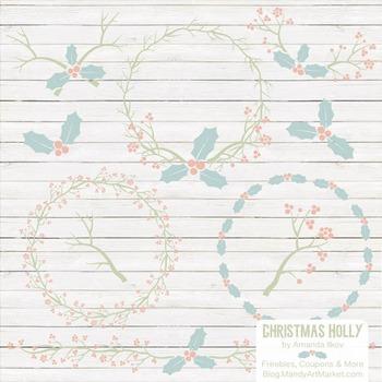 Grandmas Garden Christmas Holly Clipart