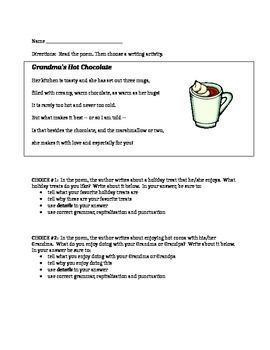 Grandma's Hot Chocolate Poem and Writing Activity