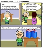 Grandma's Quilt adding fractions comic word problem