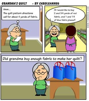 Grandma's Quilt adding fractions comic word problem