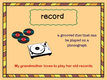 Grandma's Records Vocabulary PowerPoint
