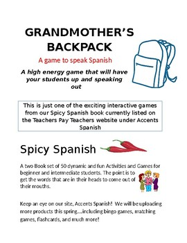 Grandmother's Backpack by Accents Spanish