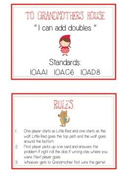 Grandmother's House Math Folder Game - Common Core - Adding Doubles