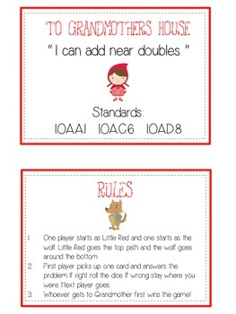 Grandmother's House Math Folder Game - Common Core - Adding Near Doubles