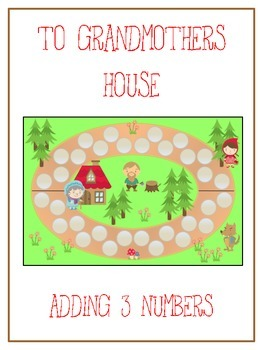 Grandmother's House Math Folder Game - Common Core - Adding Three 3 Numbers