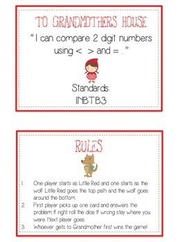 Grandmother's House Math Folder Game - Common Core - Comparing 2 Digit Numbers