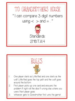 Grandmother's House Math Folder Game - Common Core - Comparing 3 Digit Numbers