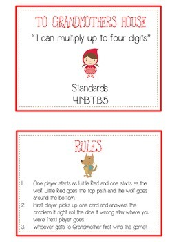 Grandmother's House Math Folder Game - Common Core Multiplication 1 2 3 4 Digits