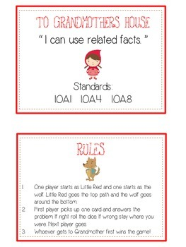 Grandmother's House Math Folder Game - Common Core - Related Facts
