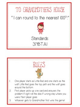 Grandmother's House Math Folder Game - Common Core - Rounding to Nearest 100th