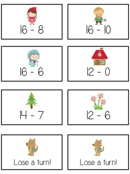 Grandmother's House Math Folder Game - Common Core - Subtracting 10 to 20