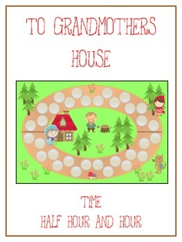 Grandmother's House Math Folder Game - Common Core - Telling Time Half Hour Hour