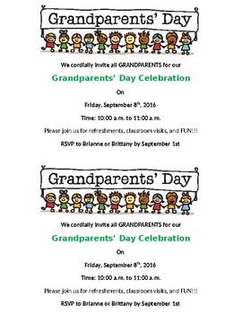 Grandparent Day Event Information for Parents