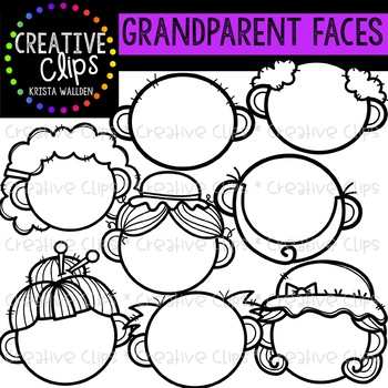 Grandparent Face Templates {Creative Clips Clipart}