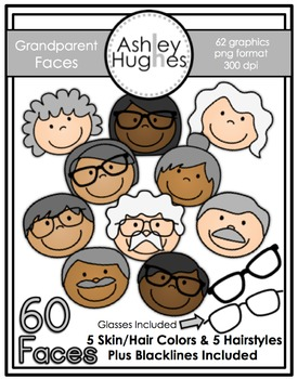 Grandparent Faces Clipart {A Hughes Design}