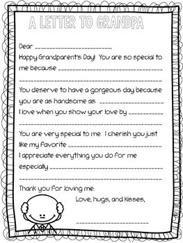 Grandparent's Day Letter: Fill-in-the-Blank
