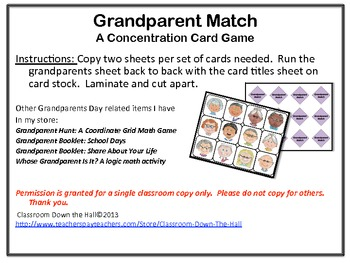 Grandparent Match: Concentration Game