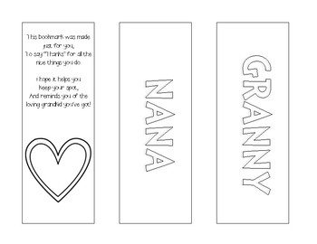Grandparent's Day Bookmarks