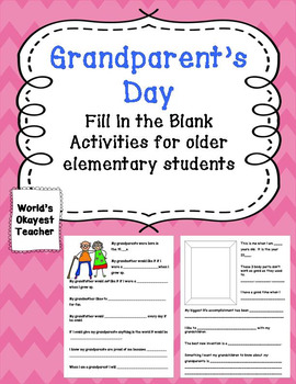 Grandparent's Day: Fill in the Blank Activities for Older Elementary Students