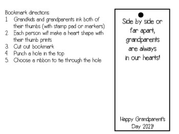 Grandparent's Day Fingerprint Bookmark Craft