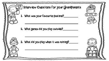 Grandparent's Day Interview Questionnaires