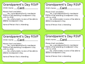 Grandparent's Day Invitation & RSVP