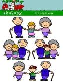 Grandparents Clipart / Graphics 300dpi Color, Gray Scale, Blacklined