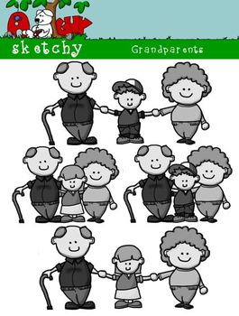 Grandparents Clipart / Graphics 300dpi Color, Gray Scale, Blacklined