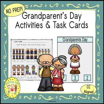 Grandparents Day Count and Clip Holiday Task Cards