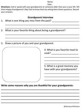 FREE Grandparents Day Activities September Getting to Know Interview and Writing