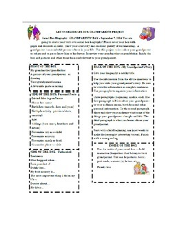 First Week of School Activity Grandparent's Day Cereal Box Biography