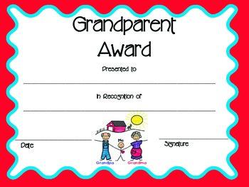 Grandparents Day Award/Certificate by Rachel Sullivan | TpT