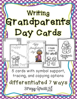 Grandparents Day Cards: Differentiated for ALL your Special Education Students