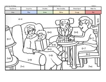 Grandparents Day Coloring Page by Addition Fact Strategy