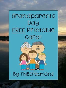 Free Grandparents Day Card Craft By Tnbcreations Tpt
