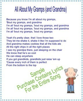 """Grandparents Day Lyrics Bundle - """"All About That Bass'"""" & """"Call Me Maybe"""""""