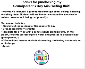 Grandparent's Day Mini Writing Unit