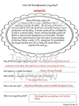 Grandparents Day Nonfiction Passages and Printables