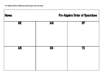 Grandparents Day Order of Operations PreAlgebra