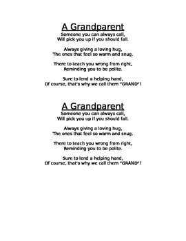 Grandparents Day Poem by Mary Wevodau | Teachers Pay Teachers