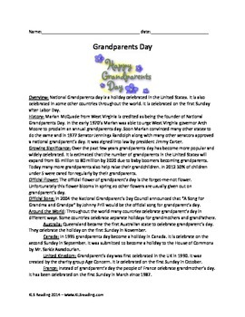 Grandparent's Day - Review Article History Activities Vocabulary Grandparents