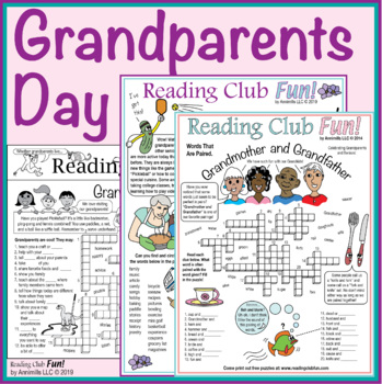 Bundle: Grandparents Day Two-Page Activity Set and Crossword Puzzle