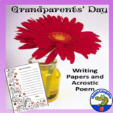 Grandparents Day Activity - Writing Paper and Acrostic Poem with Easel Activity